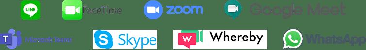 line、facetime、zoom、google meet、micrisoft teams、skype、whereby